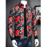 cheap Stand Collar Zip Up Flower Printed Jacket