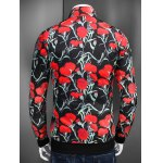 Stand Collar Zip Up Flower Printed Jacket deal