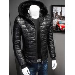 cheap Zipper Up PU Leather Jacket with Fur Trim Hood