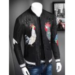 cheap Stand Collar Zip Up Rooster Printed Jacket