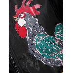 best Stand Collar Zip Up Rooster Printed Jacket