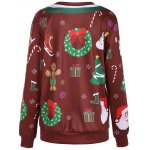 cheap Christmas Ornate Print Sweatshirt