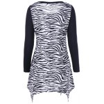 cheap Plus Size Zebra Print Single Breasted Tee