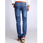 Straight Leg Selvage Design Jeans in Taper Fit photo