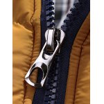 Color Block Quilted Jacket with Fur Trim Hood deal