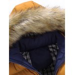 cheap Color Block Quilted Jacket with Fur Trim Hood