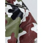 best Funnel Neck Zip Up Camouflage Quilted Jacket