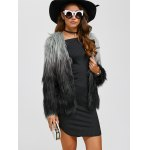 cheap Collarless Ombre Faux Fur Coat