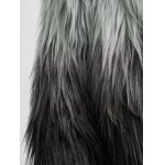 best Collarless Ombre Faux Fur Coat