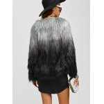 Collarless Ombre Faux Fur Coat for sale