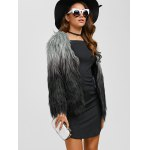 Collarless Ombre Faux Fur Coat deal