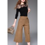 See-Through Lace Spliced Sweater and Wide Leg Pants for sale