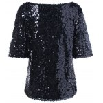Plus Size Sequined Short Sleeve Tee photo