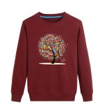 Letter Tree Print Crew Neck Long Sleeve Sweatshirt