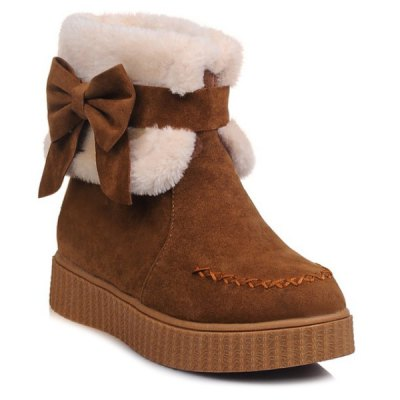 Bow Stitching Snow Boots