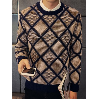 Textured Crew Neck Argyle Pullover Sweater