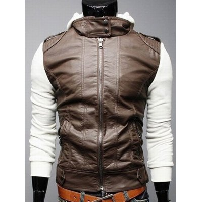 Faux Leather Insert Hooded Jacket