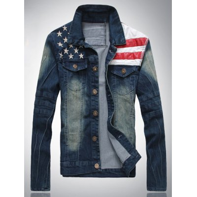 Star Print Stripe PU Leather Spliced Denim Jacket