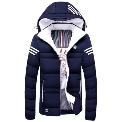 Zip Up Striped Hooded Padded Jacket