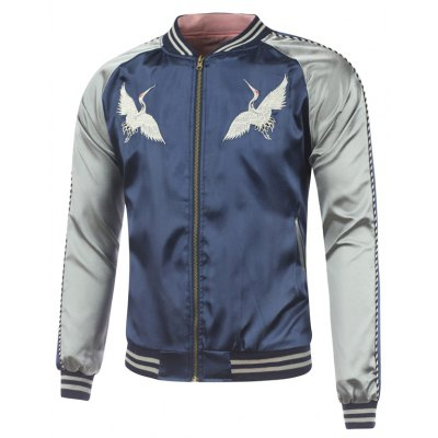 Bird Embroidery Raglan Sleeve Souvenir Jacket