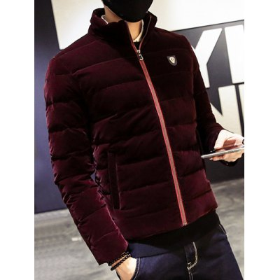 Zip Up Stand Collar Logo Quilted Jacket