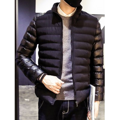 Stand Collar Insert Zip Up Padded Jacket