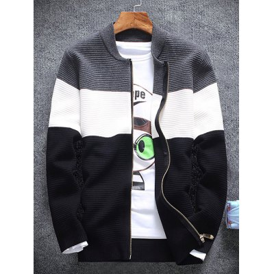 Stand Collar Color Block Rib Splicing Knit Blends Jacket
