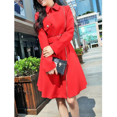 Pocket Fit and  Flare Coat With Belt