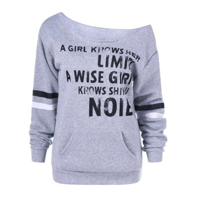 Graphic Skew Collar Sweatshirt