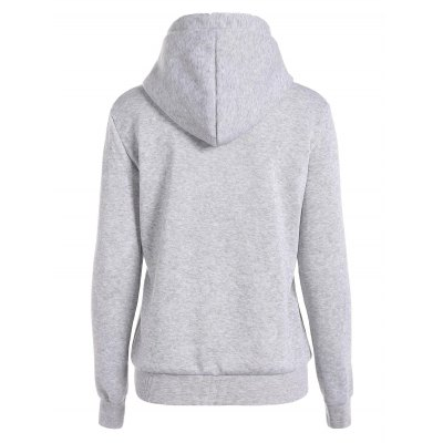 Letter Print Drawstring Hoodie with Pockets