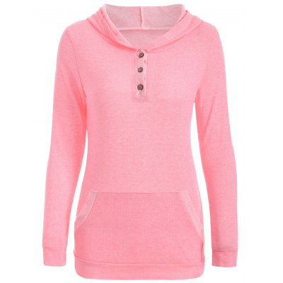 Half Button Hoodie With Pocket
