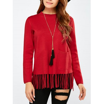 Crew Collar Fringe Pullover Sweater