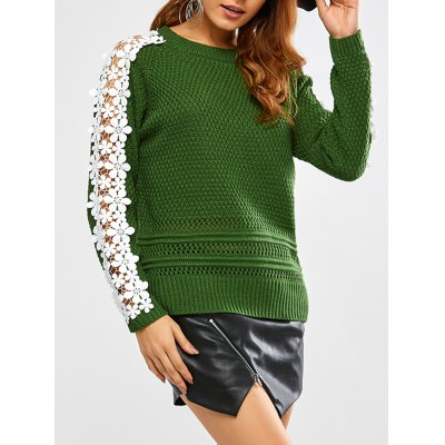 Lace Insert Chunky Sweater
