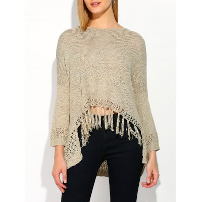 Asymmetrical Fringed Sweater