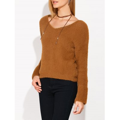 Lace Up Fuzzy Sweater