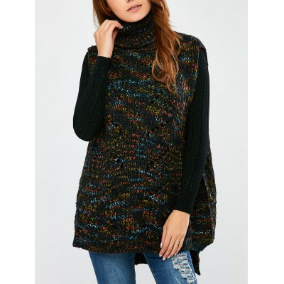 Turtle Neck  Space Dyed Chunky Sweater Vest