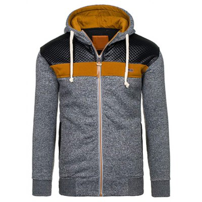 PU Leather Spliced Color Block Hoodie