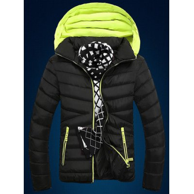 Color Block Edging Design Zip Up Quilted Jacket