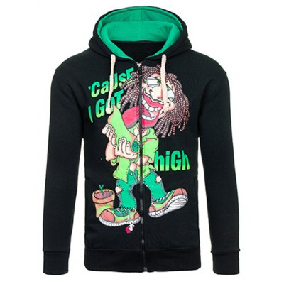 Cartoon Figure Print Drawstring Flocking Green Hoodie