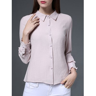 Long Sleeves Button Chiffon Shirt