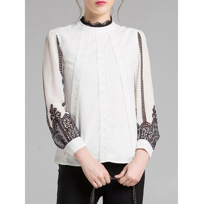 Lace Spliced Chiffon Blouse