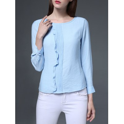 Jewel Neck Flounced Chiffon Blouse
