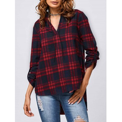 V Neck Checked Blouse