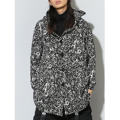Hooded Irregular Design Single Breasted Graphic Print Coat