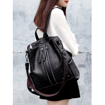Snake Embossing Multi Zips BackpackWomens Bags<br>Snake Embossing Multi Zips Backpack<br><br>Handbag Type: Backpack<br>Style: Fashion<br>Gender: For Women<br>Pattern Type: Solid<br>Handbag Size: Medium(30-50cm)<br>Closure Type: Zipper<br>Interior: Interior Zipper Pocket<br>Occasion: Versatile<br>Main Material: PU<br>Weight: 1.200kg<br>Size(CM)(L*W*H): 32*16*33<br>Package Contents: 1 x Backpack