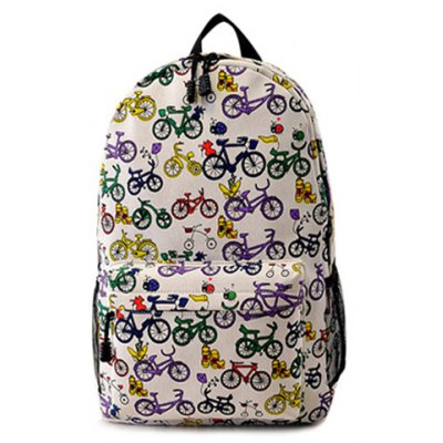 Bicycle Pattern Canvas Backpack