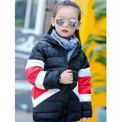 Hooded Color Block Puffer Coat