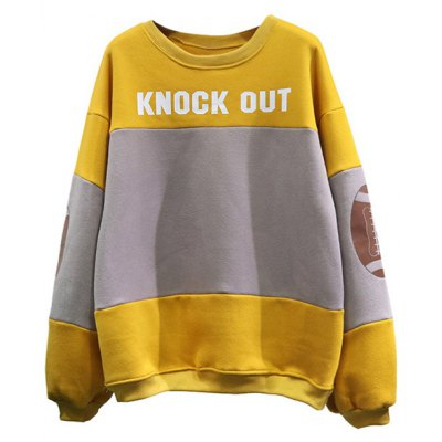 Football Patched Panelled Yellow Sweatshirt