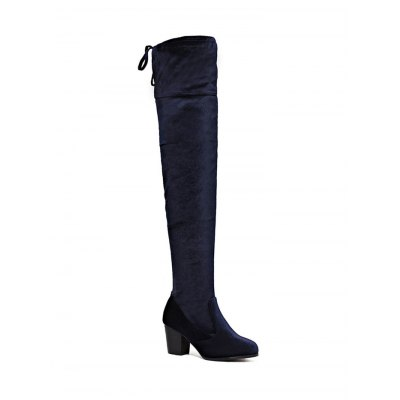 Zip Lace Up Chunky Heel Thigh Boots