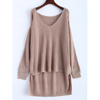 V Neck High Low Oversized Pullover Sweater